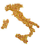 Italy 3d map regions clippings paper sheets. Map of Italy made up of multi-colored squares Stock Photo