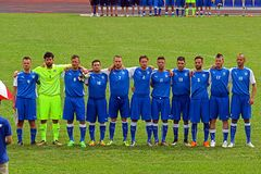 Italy deaf team. The italian national team during the anthem during the deaf world cup football match italy vs iraq played at eboli in italy royalty free stock photo