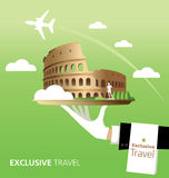 Italy destination. Italy and Rome destination, Pisa, Colosseum, typography Stock Image
