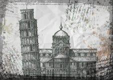 italy Det Pisa tornet skissar vektorillustrationen Arkivbilder