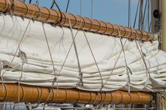 Details of a sailboat in old style stock images