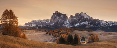 Italy. Dolomites. Autumn landscape with bright colors, house and larch trees in the soft sunlight. Stock Photo