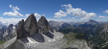 Tre Cime di Lavaredo and amazing views. Italy, Dolomiti and amazing views from Paternkofel to Tre Cime royalty free stock image