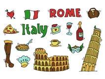 Italy doodle set Royalty Free Stock Photos