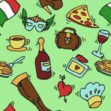 Italy doodle set pattern Royalty Free Stock Photos