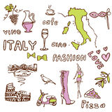 Italy doodle -sights symbols Stock Photography