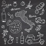 Italy doodles elements. Hand drawn set with pizza scooter, wine, cheese and map. Drawing doodle collection, on chalkboard backgrou Stock Image