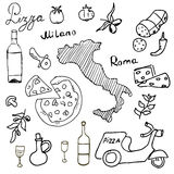 Italy doodles elements. Hand drawn set with pizza scooter, wine, cheese and map. Drawing doodle collection,  isolated on white bac Stock Image
