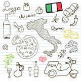 Italy doodles elements. Hand drawn set with pizza scooter, wine, cheese and map. Drawing doodle collection, on paper background Stock Image