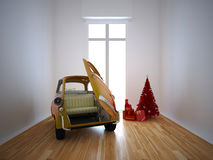 Italy dream car. Rendered illustration of old italy dream car in livingroom Royalty Free Stock Photography