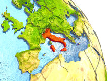 Italy on Earth in red Royalty Free Stock Photography