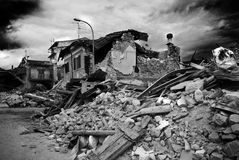 Italy earthquake. Abruzzo. interdict area. City of Onna entire destroyed Stock Image