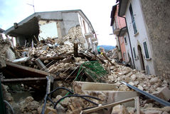 Italy earthquake. Abruzzo. interdict area. City of Onna entire destroyed Royalty Free Stock Photography
