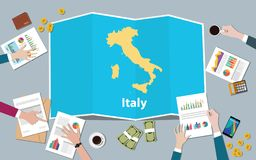 Italy economy country growth nation team discuss with fold maps view from top vector illustration