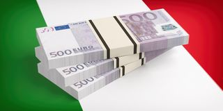 Italy, economy crisis. Euro banknotes on Italy flag. 3d illustration. 3d illustration Royalty Free Illustration