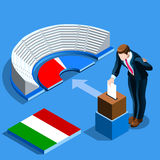 Italy Election Italian People Vote at Isometric Ballot Box. Italy election voting concept Italian man putting vote in the isometric ballot box. Vector Royalty Free Stock Images