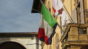 Italy and EU flag and Siena city council coat of arms Stock Image