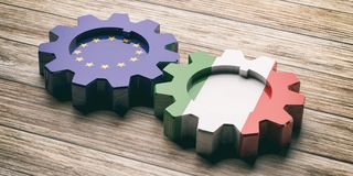 European Union and Italy flag on gears, wooden background. 3d illustration vector illustration