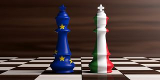European Union and Italy flags on chess kings on a chess board, wooden background. 3d illustration. Italy and EU relations, Italexit concept. European Union and Royalty Free Stock Photo