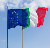 Italy and Europe Flags Stock Images