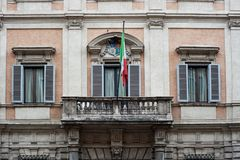 Italy Europe Union Flag on Historical Old Building in Street Rome Italy 2013 Royalty Free Stock Images