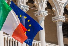 Italy and European Union Flags. On the Venetian Style Building Stock Image