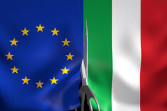 Italy exit from Eurozone and European Union concept, 3D rendering Royalty Free Stock Photography