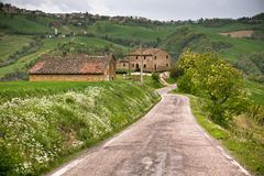 Italy Farmhouse and Local Road Royalty Free Stock Images
