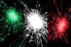 Italy fireworks sparkling flag. New Year, Christmas and National day concept.  royalty free illustration