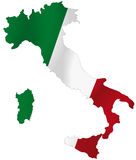 Italy flag. Vector illustration of a map and flag from Italy