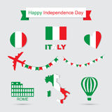 Italy flag, banner and icon patterns set illustration. Independence Day of France, symbols. Coliseum icon Stock Photography