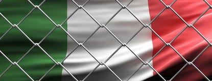 Italy flag behind steel mesh wire fence. Coronavirus pandemic quarantine, 3d illustration