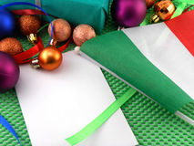 Italy flag with christmas decoration, new year. Card Royalty Free Stock Photo
