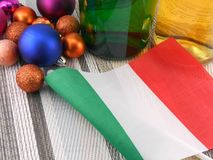 Italy flag with christmas decoration, new year. Card Royalty Free Stock Image
