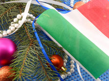 Italy flag with christmas decoration, new year. Card Stock Photos
