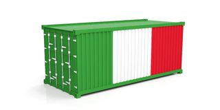 Italy flag on container. 3d illustration Stock Image