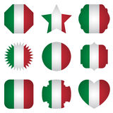Italy flag with different shapes on a white background Stock Image