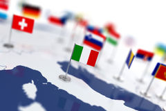 Italy flag in the focus. Europe map with countries flags Stock Photos