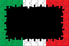 Italy Flag Frame Puzzle. / Black Background Stock Images