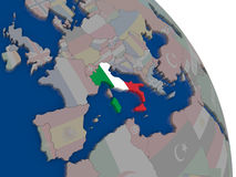 Italy with flag on globe Stock Image