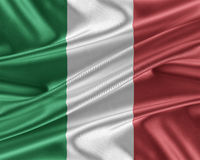 Italy flag with a glossy silk texture. Royalty Free Stock Photos