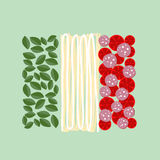 Italy flag of ingredients of food: Basil, pasta  and tomatoes . Vector illustration Stock Photography
