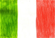 Italy flag, italian pencil drawing illustration kid style photo Stock Images