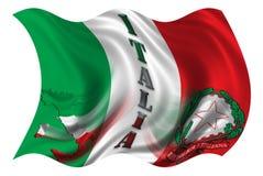 Italy Flag / Map & Blazon. / White Background Vector Illustration