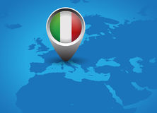 Italy flag and map button Stock Images