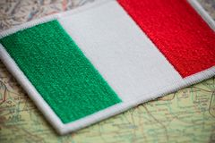 Italy flag on map Stock Images