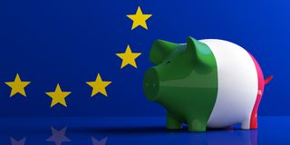 Italy flag piggy bank on EU flag. 3d illustration. 3d illustration royalty free illustration