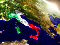 Italy with flag in rising sun Royalty Free Stock Images