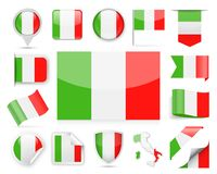Italy Flag Vector Set Royalty Free Stock Photography