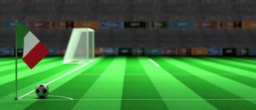 Italy flag on a soccer field. 3d illustration. Italy flag on a soccer football field. 3d illustration Stock Photos